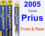 Front & Rear Wiper Blade Pack for 2005 Toyota Prius - Premium