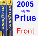 Front Wiper Blade Pack for 2005 Toyota Prius - Premium