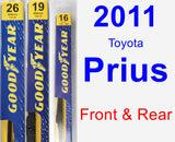 Front & Rear Wiper Blade Pack for 2011 Toyota Prius - Premium