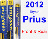 Front & Rear Wiper Blade Pack for 2012 Toyota Prius - Premium