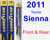 Front & Rear Wiper Blade Pack for 2011 Toyota Sienna - Premium