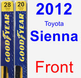Front Wiper Blade Pack for 2012 Toyota Sienna - Premium