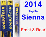 Front & Rear Wiper Blade Pack for 2014 Toyota Sienna - Premium