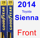 Front Wiper Blade Pack for 2014 Toyota Sienna - Premium