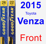 Front Wiper Blade Pack for 2015 Toyota Venza - Premium
