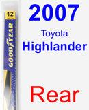 Rear Wiper Blade for 2007 Toyota Highlander - Rear