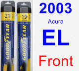 Front Wiper Blade Pack for 2003 Acura EL - Assurance