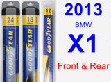 Front & Rear Wiper Blade Pack for 2013 BMW X1 - Assurance