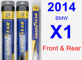 Front & Rear Wiper Blade Pack for 2014 BMW X1 - Assurance