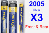 Front & Rear Wiper Blade Pack for 2005 BMW X3 - Assurance