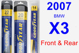 Front & Rear Wiper Blade Pack for 2007 BMW X3 - Assurance