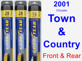 Front & Rear Wiper Blade Pack for 2001 Chrysler Town & Country - Assurance