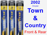 Front & Rear Wiper Blade Pack for 2002 Chrysler Town & Country - Assurance