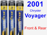 Front & Rear Wiper Blade Pack for 2001 Chrysler Voyager - Assurance