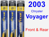Front & Rear Wiper Blade Pack for 2003 Chrysler Voyager - Assurance