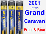 Front & Rear Wiper Blade Pack for 2001 Dodge Grand Caravan - Assurance