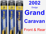 Front & Rear Wiper Blade Pack for 2002 Dodge Grand Caravan - Assurance