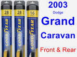 Front & Rear Wiper Blade Pack for 2003 Dodge Grand Caravan - Assurance