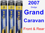 Front & Rear Wiper Blade Pack for 2007 Dodge Grand Caravan - Assurance