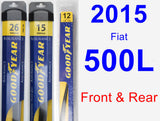 Front & Rear Wiper Blade Pack for 2015 Fiat 500L - Assurance
