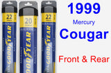 Front & Rear Wiper Blade Pack for 1999 Mercury Cougar - Assurance