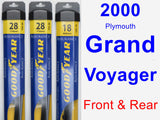 Front & Rear Wiper Blade Pack for 2000 Plymouth Grand Voyager - Assurance