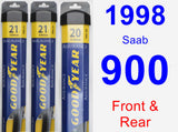 Front & Rear Wiper Blade Pack for 1998 Saab 900 - Assurance