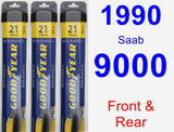 Front & Rear Wiper Blade Pack for 1990 Saab 9000 - Assurance