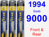 Front & Rear Wiper Blade Pack for 1994 Saab 9000 - Assurance