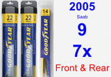Front & Rear Wiper Blade Pack for 2005 Saab 9-7x - Assurance