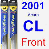 Front Wiper Blade Pack for 2001 Acura CL - Hybrid