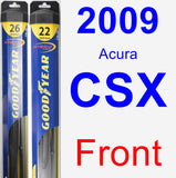 Front Wiper Blade Pack for 2009 Acura CSX - Hybrid