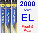Front & Rear Wiper Blade Pack for 2000 Acura EL - Hybrid
