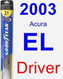 Driver Wiper Blade for 2003 Acura EL - Hybrid