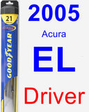 Driver Wiper Blade for 2005 Acura EL - Hybrid