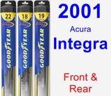 Front & Rear Wiper Blade Pack for 2001 Acura Integra - Hybrid