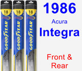 Front & Rear Wiper Blade Pack for 1986 Acura Integra - Hybrid