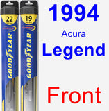 Front Wiper Blade Pack for 1994 Acura Legend - Hybrid
