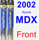 Front Wiper Blade Pack for 2002 Acura MDX - Hybrid