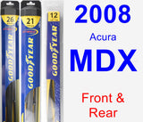 Front & Rear Wiper Blade Pack for 2008 Acura MDX - Hybrid