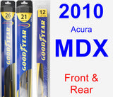 Front & Rear Wiper Blade Pack for 2010 Acura MDX - Hybrid