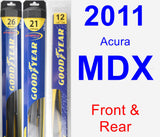 Front & Rear Wiper Blade Pack for 2011 Acura MDX - Hybrid