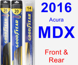 Front & Rear Wiper Blade Pack for 2016 Acura MDX - Hybrid