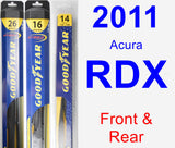 Front & Rear Wiper Blade Pack for 2011 Acura RDX - Hybrid