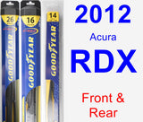 Front & Rear Wiper Blade Pack for 2012 Acura RDX - Hybrid