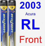 Front Wiper Blade Pack for 2003 Acura RL - Hybrid