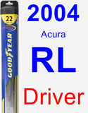 Driver Wiper Blade for 2004 Acura RL - Hybrid
