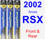Front & Rear Wiper Blade Pack for 2002 Acura RSX - Hybrid