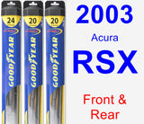 Front & Rear Wiper Blade Pack for 2003 Acura RSX - Hybrid