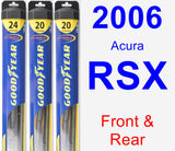 Front & Rear Wiper Blade Pack for 2006 Acura RSX - Hybrid